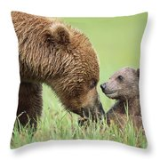 Grizzly Bear And Cub In Katmai Throw Pillow