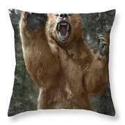 Grizzly Bear Attack On The Trail Throw Pillow