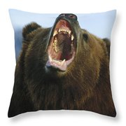 Grizzly Bear Close Up Of Growling Face Throw Pillow