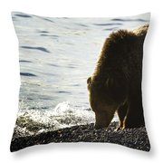 Grizzly Bear-signed-#4137 Throw Pillow