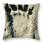 Grizzly Bear Track In Soft Mud. Throw Pillow