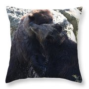 Grizzly Bears Fighting Throw Pillow