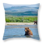 Grizzly Bears In Moraine River In Katmai National Preserve-ak Throw Pillow