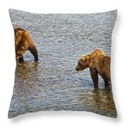 Grizzly Bears Looking For Salmon In Moraine River In Katmai Np-ak Throw Pillow