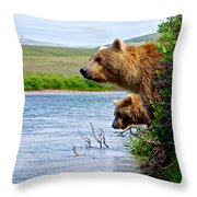 Grizzly Bears Peering Out Over Moraine River From Their Safe Island Throw Pillow