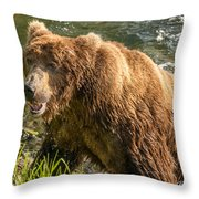 Grizzly On The River Bank Throw Pillow