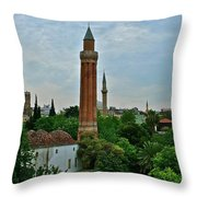 Grooved Minaret Fromthirteenth Century In Antalya-turkey Throw Pillow