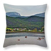 Gros Morne Mountain Over Bonne Bay At Norris Point In Gros Morne Np-nl Throw Pillow