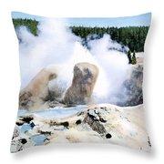 Grotto Geyser Yellowstone Np Throw Pillow