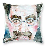Groucho Marx Watercolor Portrait.1 Throw Pillow