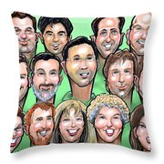 Group Gift Caricature Throw Pillow by Kevin Middleton