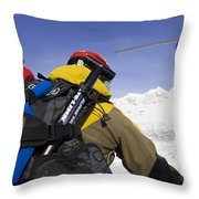 Group Heli Skiing, Helicopter Taking Throw Pillow