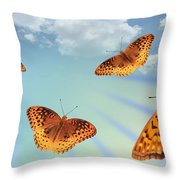 Group Of Butterflies And Sky Throw Pillow