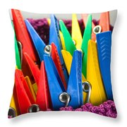 Group Of Colorful Clothespins Throw Pillow