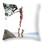 Group Of Family Members Jumping Throw Pillow