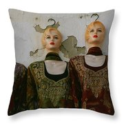 Group Of Mannequins In A Market Stall Throw Pillow