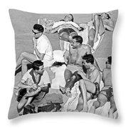 Group Of Men Sunbathing Throw Pillow