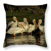 Group Of White Pelicans Throw Pillow