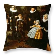 Group Portrait Of Three Generations Of A Family In The Grounds Of A Country House Oil On Canvas Throw Pillow