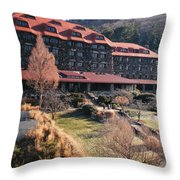 Grove Park Inn In Early Winter Throw Pillow by Paulette B Wright