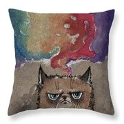 Grumpy Cat And Her Colorful Dreams Throw Pillow