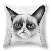 Grumpy Cat Portrait Throw Pillow