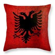 Grunge Albania Flag Throw Pillow