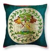 Grunge Belize Flag  Throw Pillow