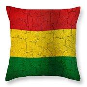 Grunge Bolivia Flag Throw Pillow