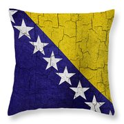 Grunge Bosnia And Hertzegoniva Flag Throw Pillow