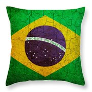 Grunge Brazil Flag Throw Pillow