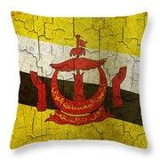 Grunge Brunei Flag Throw Pillow