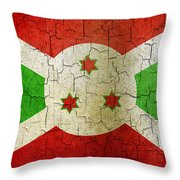 Grunge Burundi Flag Throw Pillow