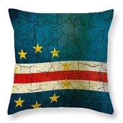 Grunge Cape Verde Flag Throw Pillow