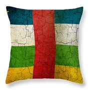 Grunge Central African Republic Flag Throw Pillow