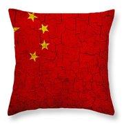 Grunge China Flag Throw Pillow