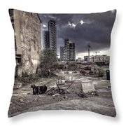 Grunge Cityscape Throw Pillow