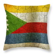 Grunge Comoros Flag Throw Pillow
