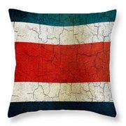 Grunge Costa Rica Flag Throw Pillow