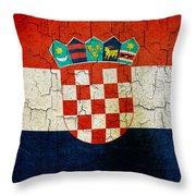 Grunge Croatia Flag Throw Pillow