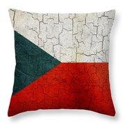 Grunge Czech Republic Flag Throw Pillow
