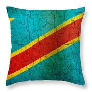 Grunge Democratic Republic Of The Congo Flag Throw Pillow