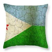 Grunge Djibouti Flag Throw Pillow