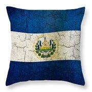 Grunge El Salvador Flag Throw Pillow