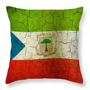 Grunge Equatorial Guinea Flag Throw Pillow