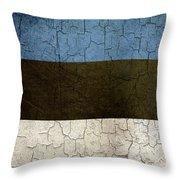 Grunge Estonia Flag Throw Pillow