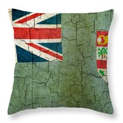 Grunge Fiji Flag Throw Pillow