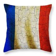 Grunge France Flag Throw Pillow