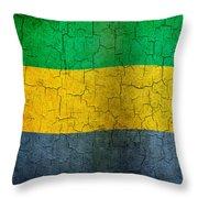 Grunge Gabon Flag Throw Pillow