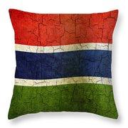 Grunge Gambia Flag Throw Pillow